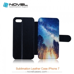 High quality Sublimation flip leather cover for iphone 7, PU leather cover