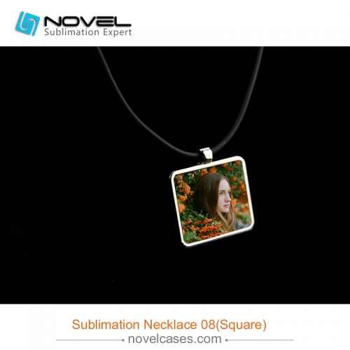 Popular Sublimation Blank Necklace With Leather Cord--Square Shaped