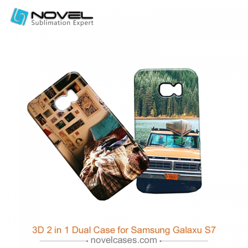 For Galaxy S7 Sublimation 3D 2IN1 Dual Proterive Phone Back Shell