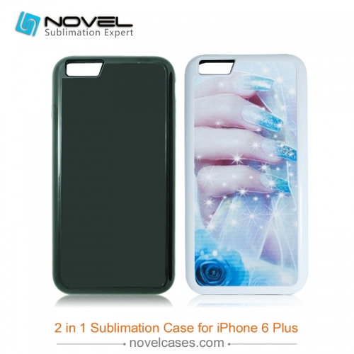 For iPhone 6 Plus Sublimation Blank 2D 2IN1 Phone Case