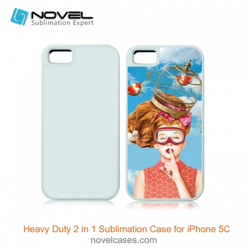 For iPhone 5C Sublimation Blank 2D 2IN1 Phone Case