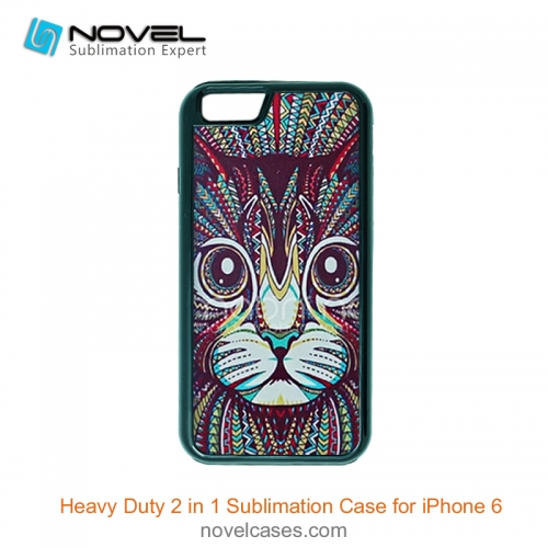 For iPhone 6 Hot Sublimation Blank 2D 2IN1 Phone Case