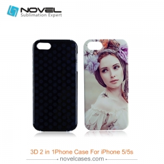 For iPhone 4/5/5S/SE Sublimation 3D 2IN1 Dual Protective Phone Back Cover