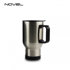 Sublimation Stainless Steel Car Mug 14oz Travel Mug-Silver
