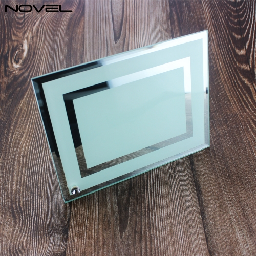 "8"" Glass Photo Sublimation Frame with Double Mirror Edge"