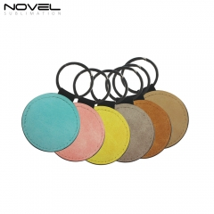 DIY Sublimation Printing PU Leather Keychain Round