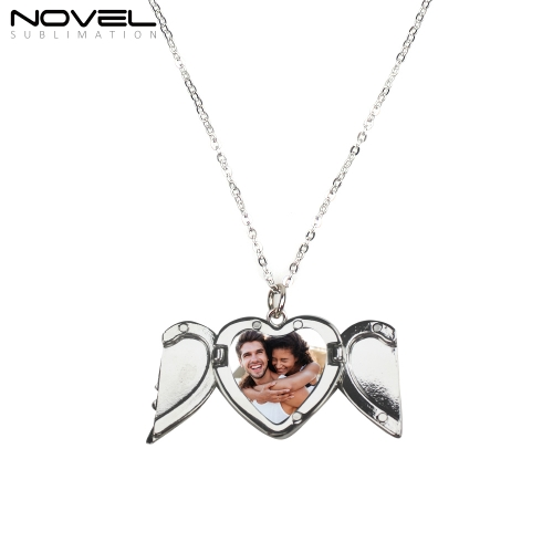 Fashionable Sublimation Necklace -Heart Angel Wings Can be Opened