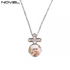 Fashionable Sublimation Necklace -Round with Diamonds